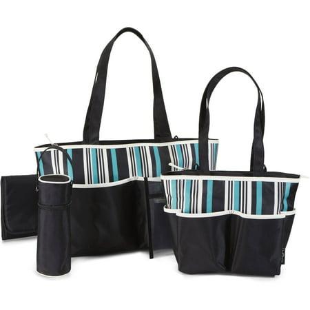 6e923cbbe3 Baby Boom Tote Diaper Bag 5pc set, Striped - Walmart.com