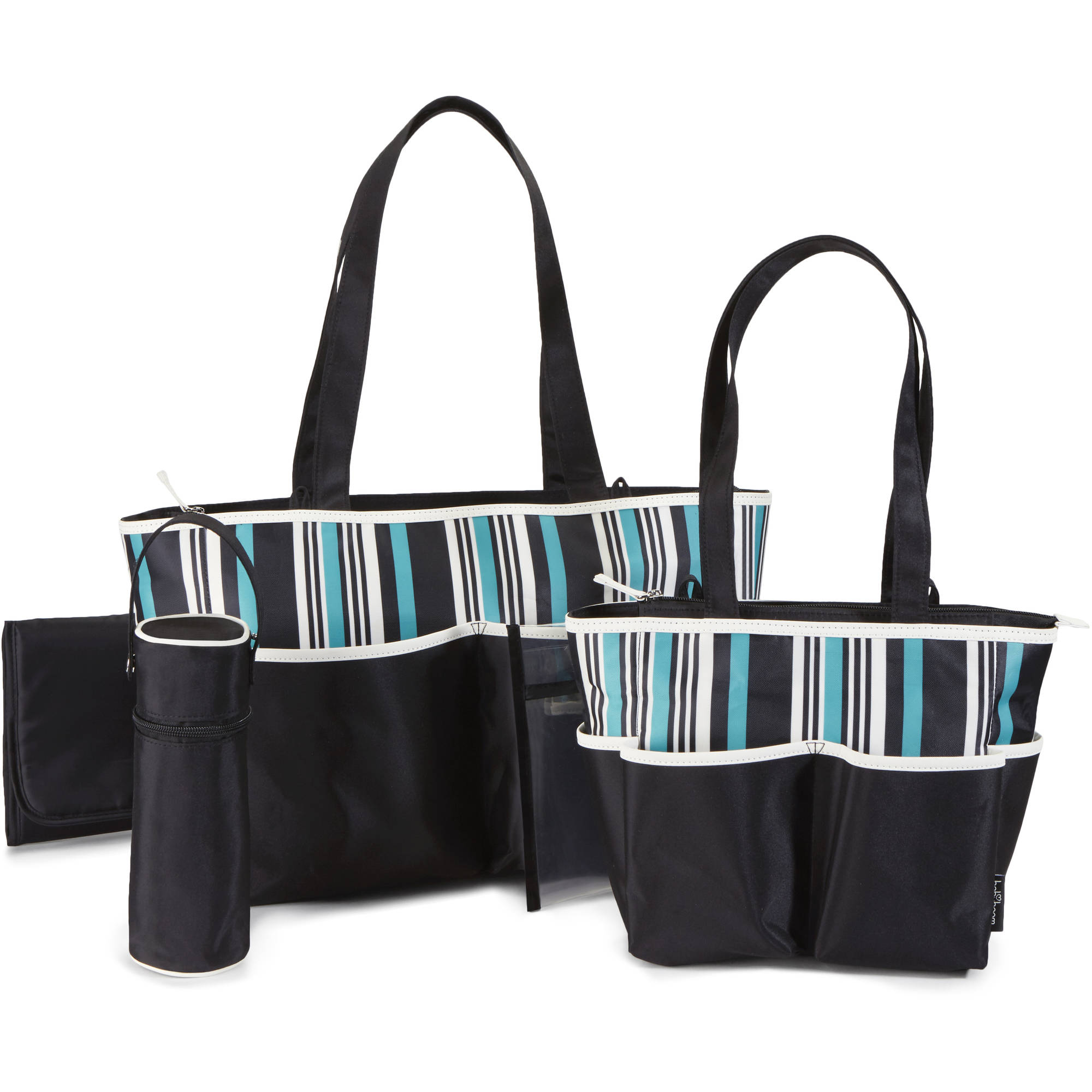 Baby Boom Tote Diaper Bag 5pc set, Striped