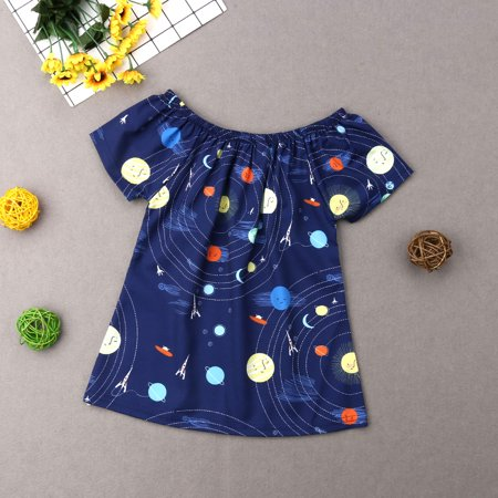 1PC Infant Baby Toddler Girls Dresses Short Sleeve Starry Night Sky Planet Print Playwear Outfits Navy