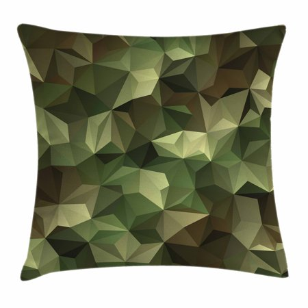 Sage Throw Pillow Cushion Cover, Geometric Fractal Shapes Triangles Army Military Camo Inspired Form with Poly Effect, Decorative Square Accent Pillow Case, 20 X 20 Inches, Brown Green, by Ambesonne (Sage Green Decorative Pillows)