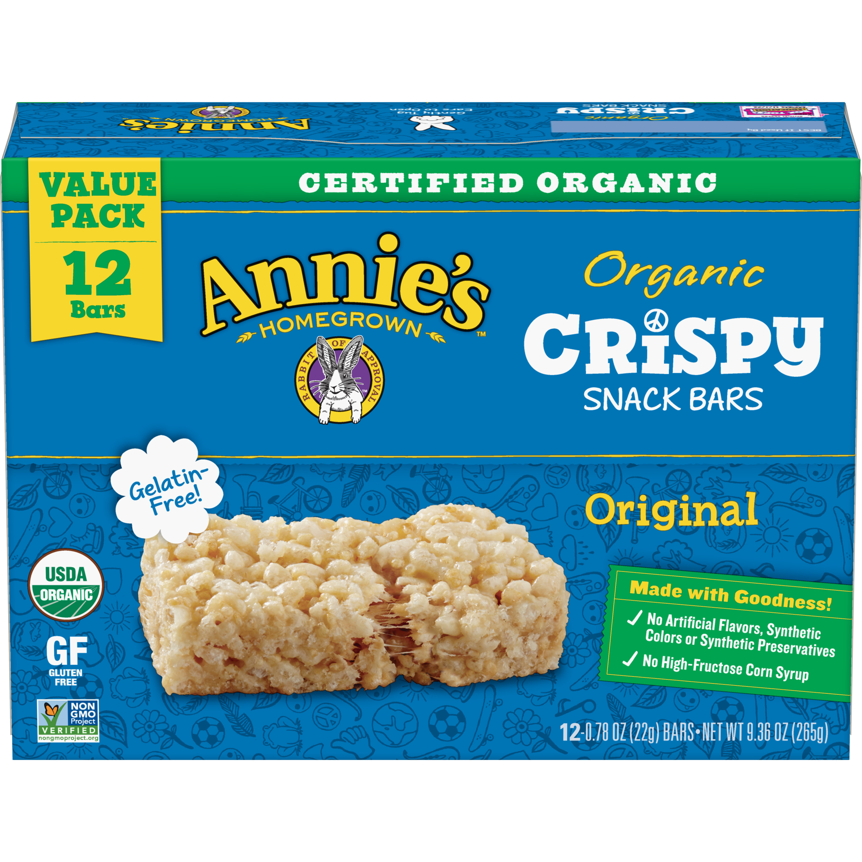 Annie's Organic Crispy Snack Bars Original Value Pack, 12 ct, 9.36 oz, 0.78 OZ