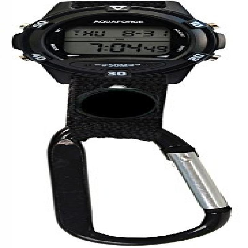 Image of Aquaforce 26-1FL Carabiner Multi Function Digital Flashlight Clipwatch with Black Dial