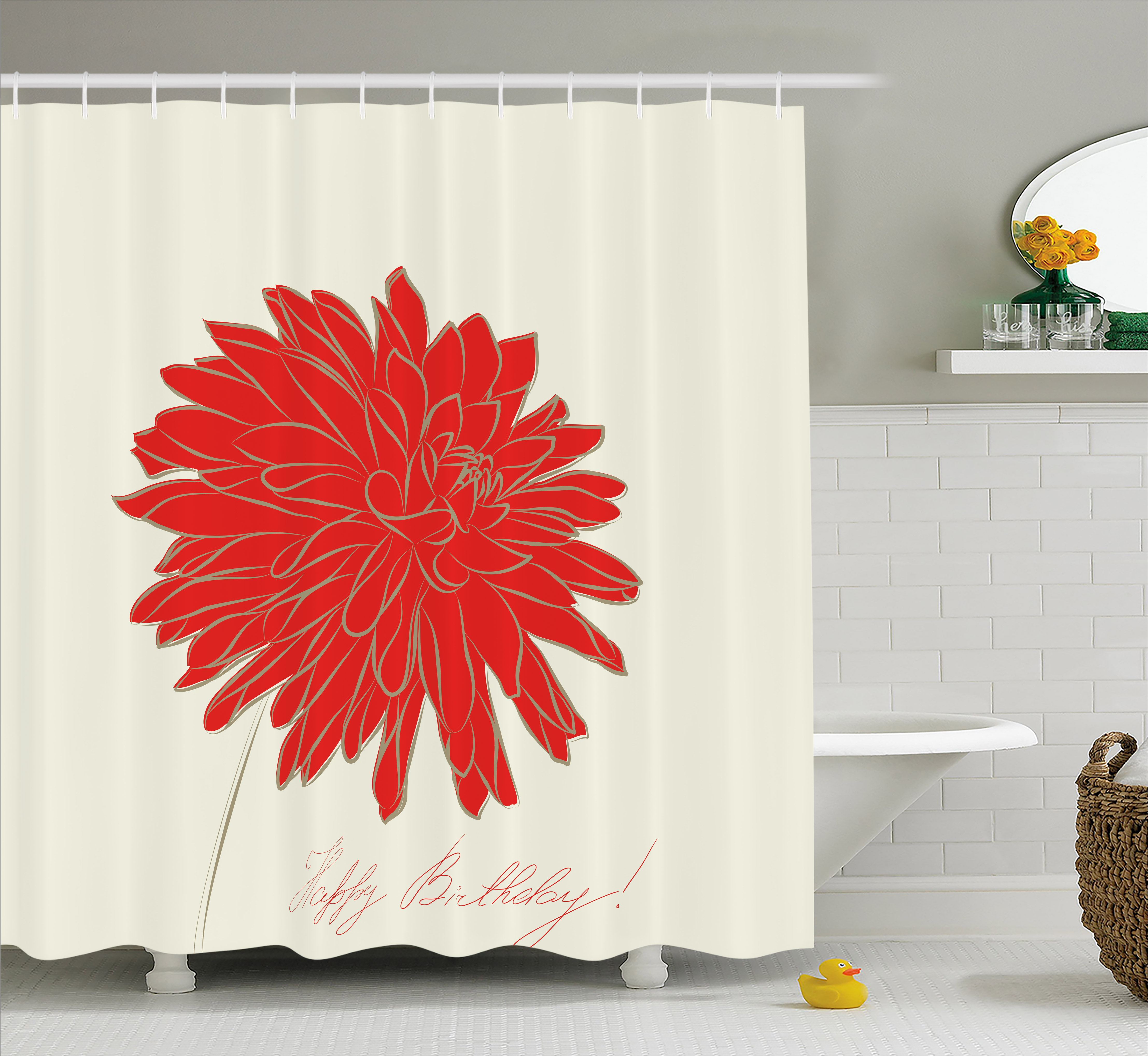 Shower Curtains Vintage Red Bicycle Flowers Shower Curtain