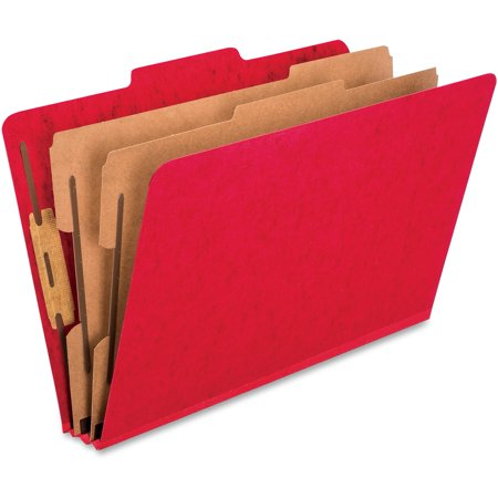 Pendaflex, PFX2257SC, Kraft Divider PressBoard Classification Folders, 10 / Box, Scarlet 1 Kraft Divider