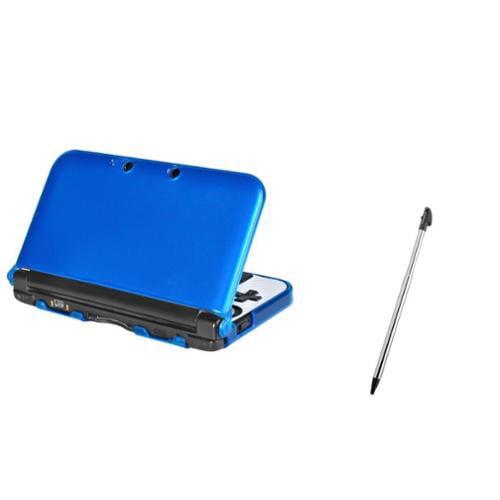 Insten Blue TPU Gel Rubber Case+Retractable Stylus for Nintendo 3DS XL