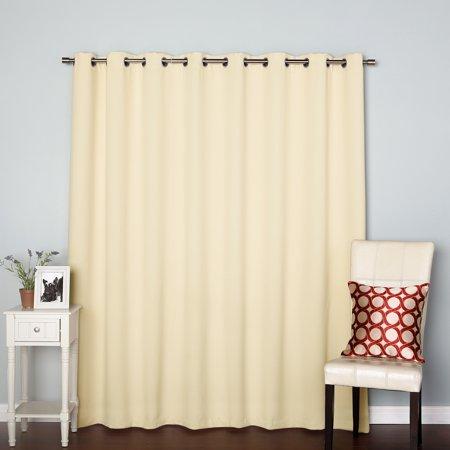 "Quality Home Wide Basic Silver Grommet Blackout Curtain - BEIGE - 100""W x 84""L (Single Panel)"