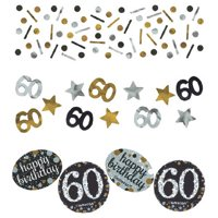Over the Hill 'Sparkling Celebration' 60th Birthday Confetti Value Pack (3 types)
