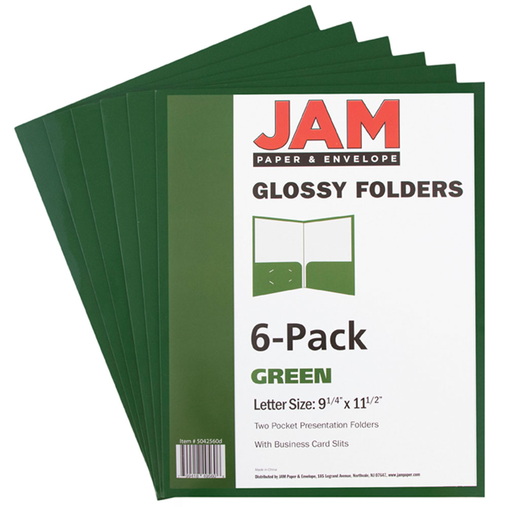 JAM Paper Two Pocket Glossy Presentation Folders, Green, Pack of 6 Folders