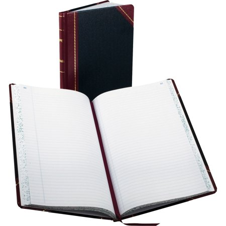 Boorum & Pease Record/Account Book, Black/Red Cover, 150 Pages, 14 1/8 x 8 5/8 Pease Account Record Book