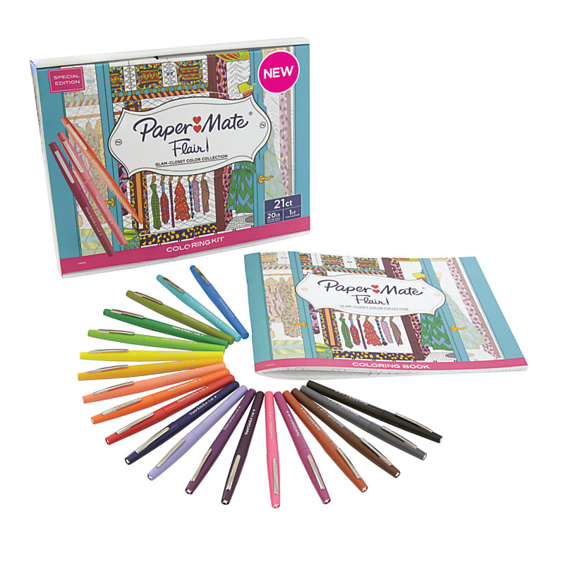 Paper Mate Flair Adult Coloring Kit Woman S Closet Theme Coloring