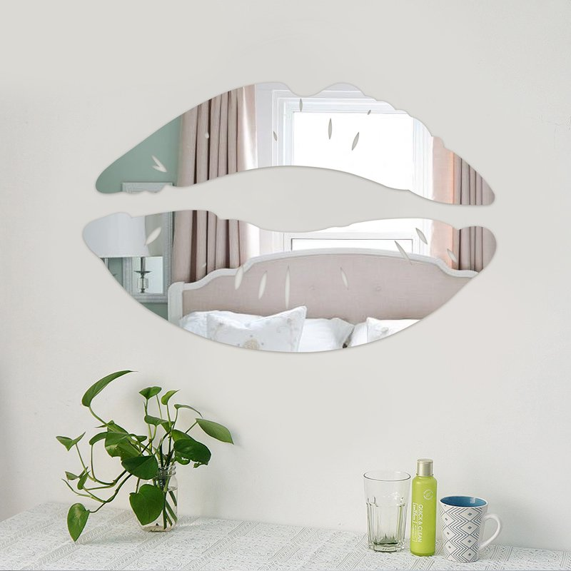 Wall Sticker Silver Lips Mirror