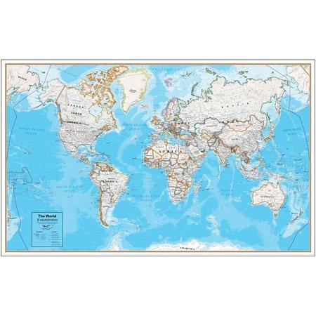 CONTEMP LAMINATED WALL MAP WORLD HEMISPHERES (Laminated Old World Map)