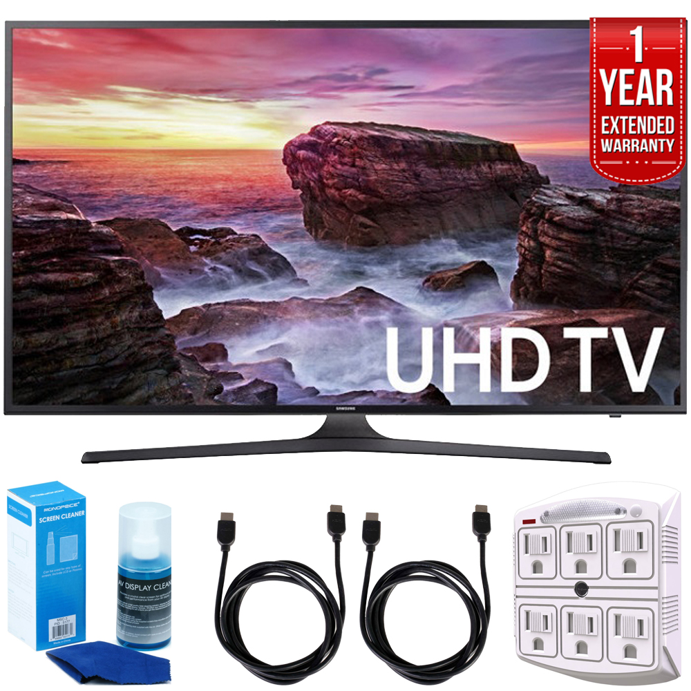 """Samsung UN65MU6290FXZA Flat 64.5"""" LED 4K UHD 6 Series Smart TV (2017) + 2x 6ft High Speed HDMI Cable + Universal Screen Cleaner + 6-Outlet Surge Adapter with Night Light + 1 Year Extended Warranty"""