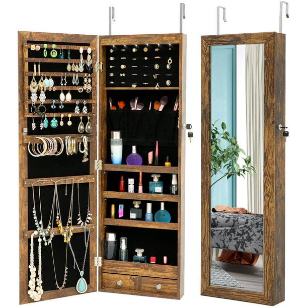 Jewelry Storage Organizer Hanging, Wall Hanging Mirror With Storage