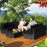 7PCS Patio Rattan Sofa Set Sectional Conversation Furniture Set Garden Black