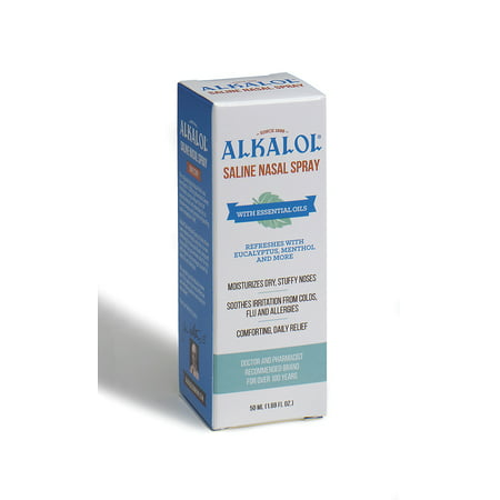 Image of Alkalol. Alkalol Saline Nasal Spray 1.69 oz. Moisturizes Dry, Stuffy Noses. Soothes Irritation from Colds, Flu and Allergies. Comforting, Daily Relief.