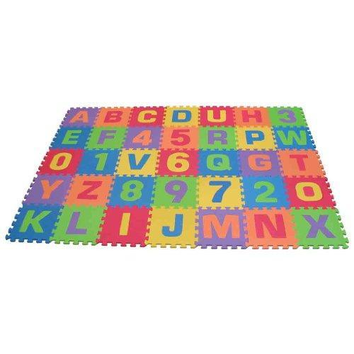 Edushape Edu-Tiles 36 Piece 6x6ft Play Mat, Letters & Numbers Set Multi-Colored
