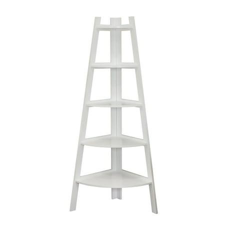 5 Tier Ladder - Danya B. Five Tier Corner Ladder White Display Bookshelf