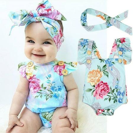 Blue Bodysuit Without Head (Newborn Baby Girls Clothes Flower Jumpsuit Romper Bodysuit + Headband)