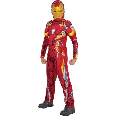 Captain America: Civil War Iron Man Muscle Costume for Boys, Size Small, Padded - Iron Man Muscle Costume