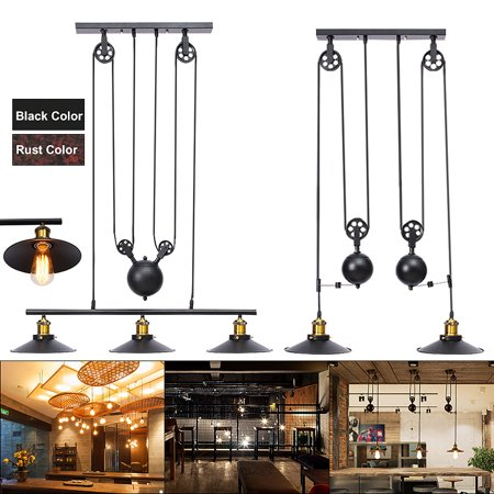 Industrial Vintage Chandeliers 3 Lights Pulley Pendant Lighting Fixture, E27 Retro Retractable Ceiling Hanging Lighting, AC110-240V, for Home Kitchen Farmhouse Island Bar