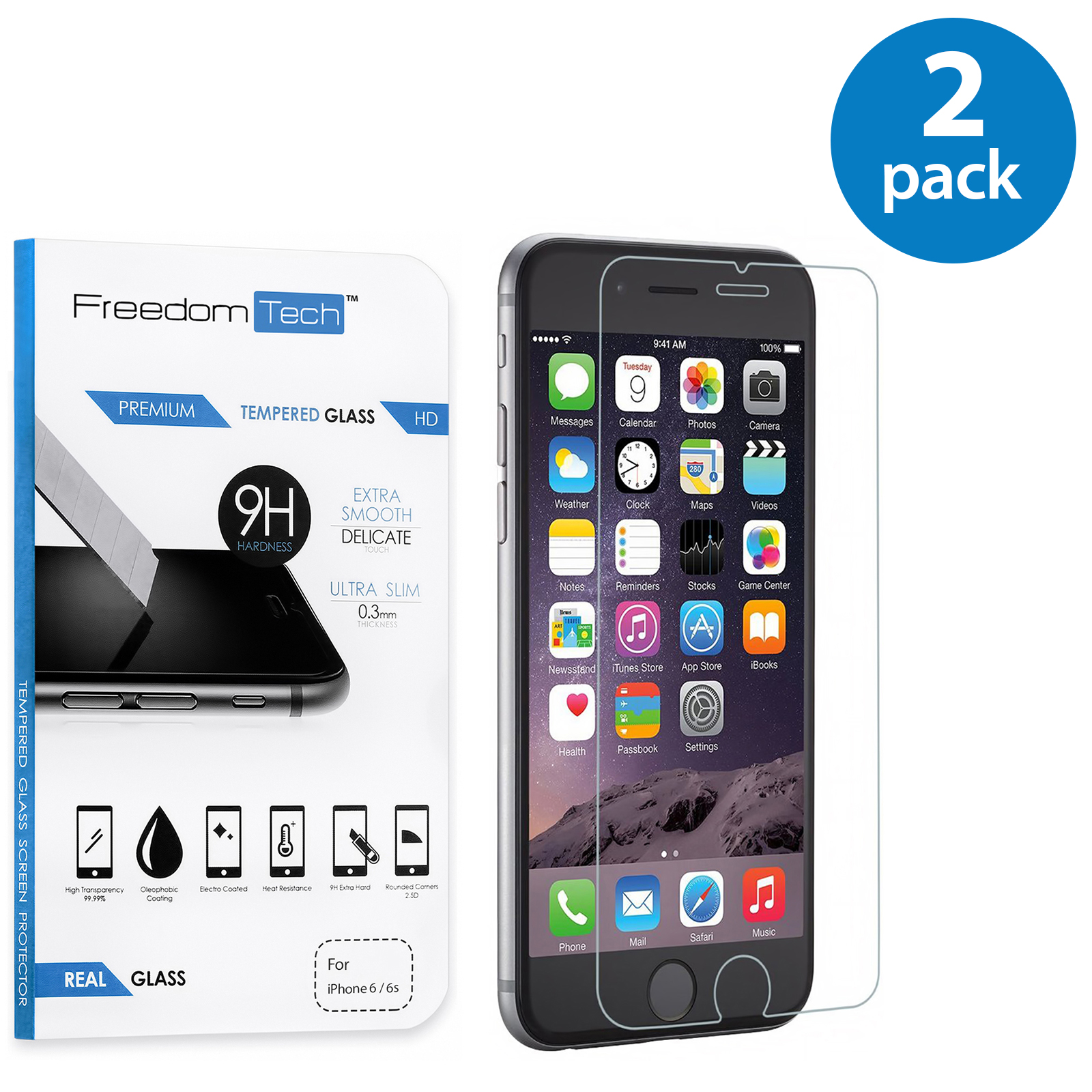 2x Freedomtech Tempered Glass Screen Protector Film LCD Guard For Apple iPhone 6