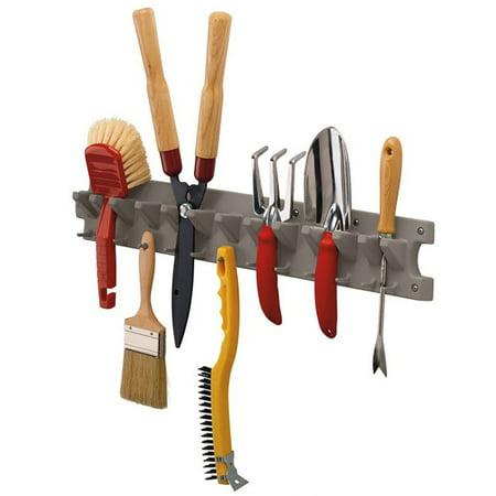 Suncast 2 Foot Wall Mounted Garage Garden Hand Tool Hanger Organizer, Platinum