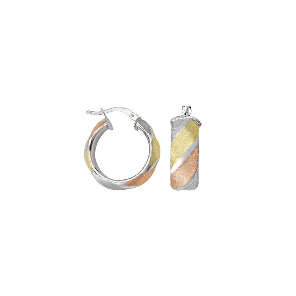 Mia Diamonds 10k Tri-Color Gold Polished 2.5mm Twisted Hoop Earrings