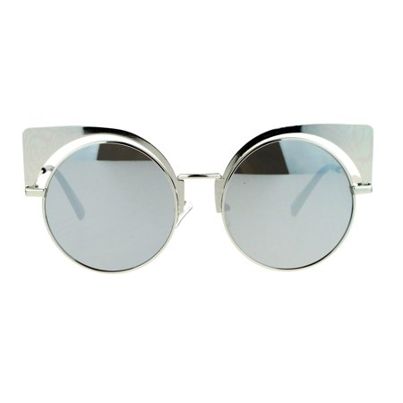 SA106 Colored Mirror Runway Round Circle Lens Cateye Goth Sunglasses Silver (Cateye Sunglasses For Round Face)