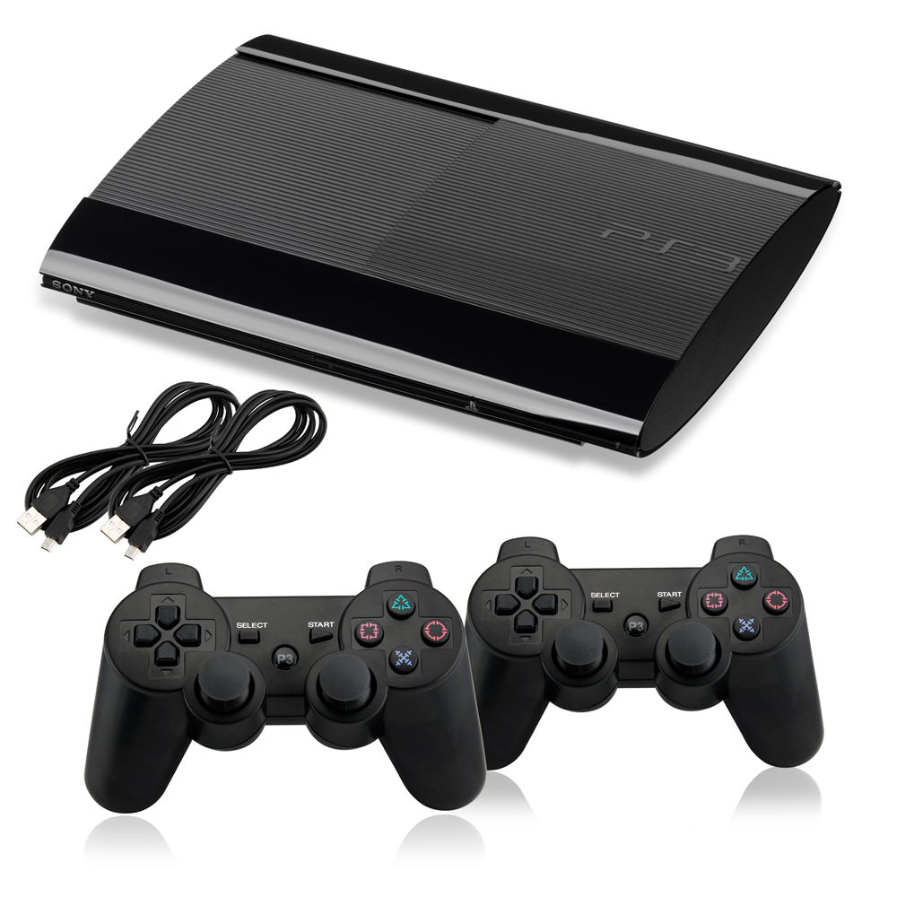 Sony PlayStation 3 PS3 250GB Refurbished Console Black + 2 Packs Generic New Wired Controller