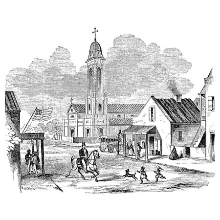 New Orleans Church C1850 Nstreet Scene In Front Of St AugustineS Church In New Orleans Louisiana Wood Engraving C1850 Poster Print by Granger