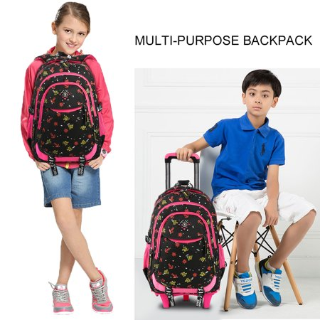 Trolley School Bag Stylish Wheeled Backpack Simple Travel Daypack Large-capacity Shoulder Bag for Primary School Students, 6 Wheels, Black (Backpack Luggage Trolley Bag)