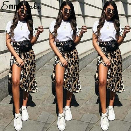 Women´s Sexy Short MIni Skirt Leopard Print High Waist Cocktail Party Dress - Leopard Print Girls Dress