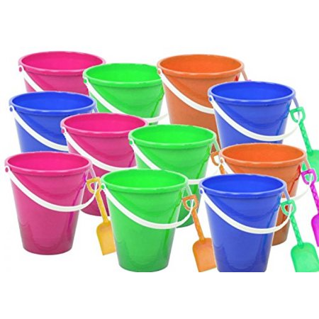 1 Dozen Beach Pails and Shovels - 5 inch, assorted colors 4E's - Beach Pails