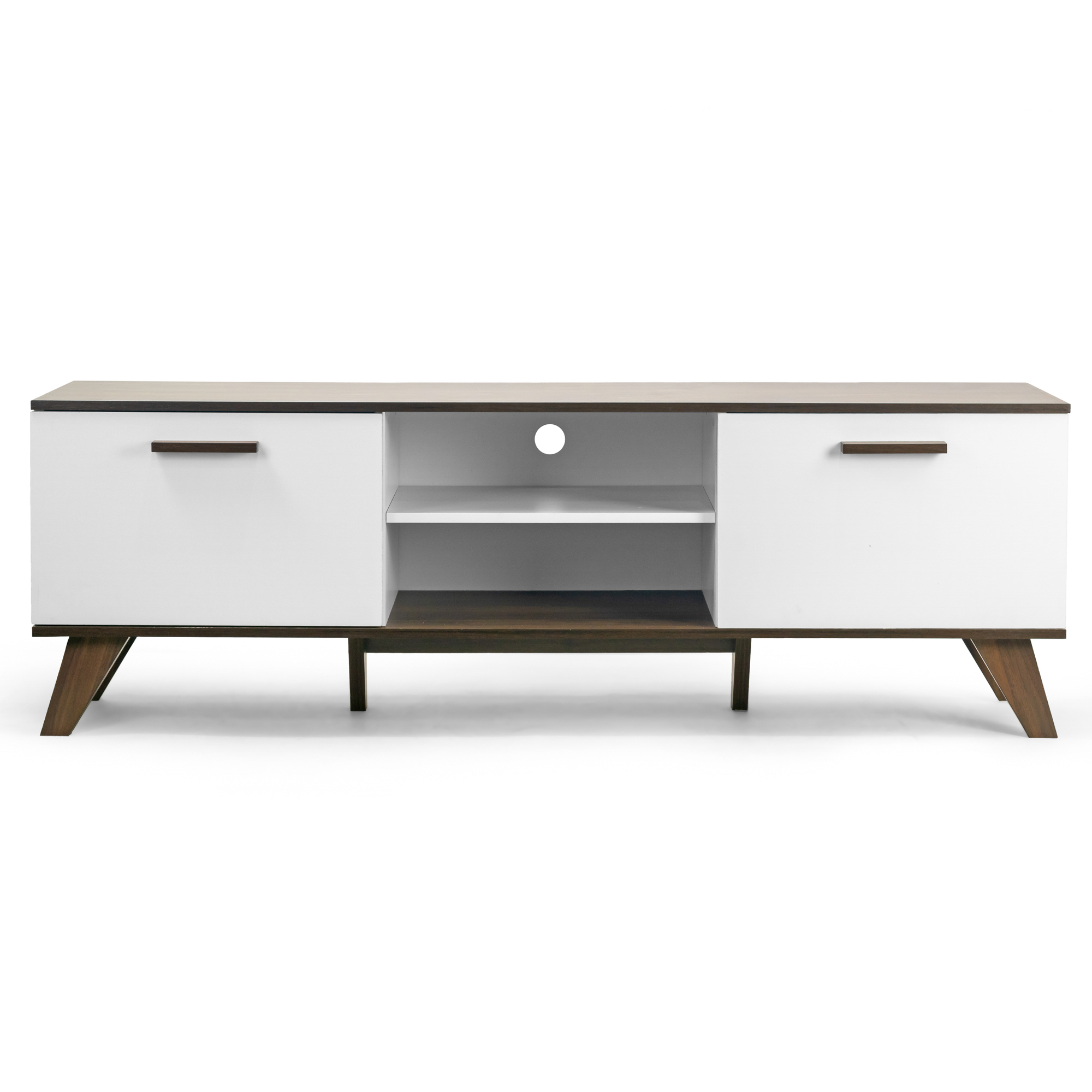 Annis Tv Stand Walnut Finish With Contrasting White Door Walmart Com Walmart Com