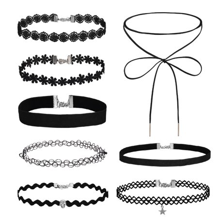 Choker Necklace Velvet Classic Lace Collar Girls Tattoo Set 8 Pieces