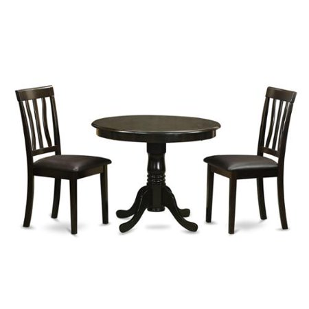 Cappuccino Round Table Plus 2 Kitchen Chairs 3-piece Dining Set Faux leather