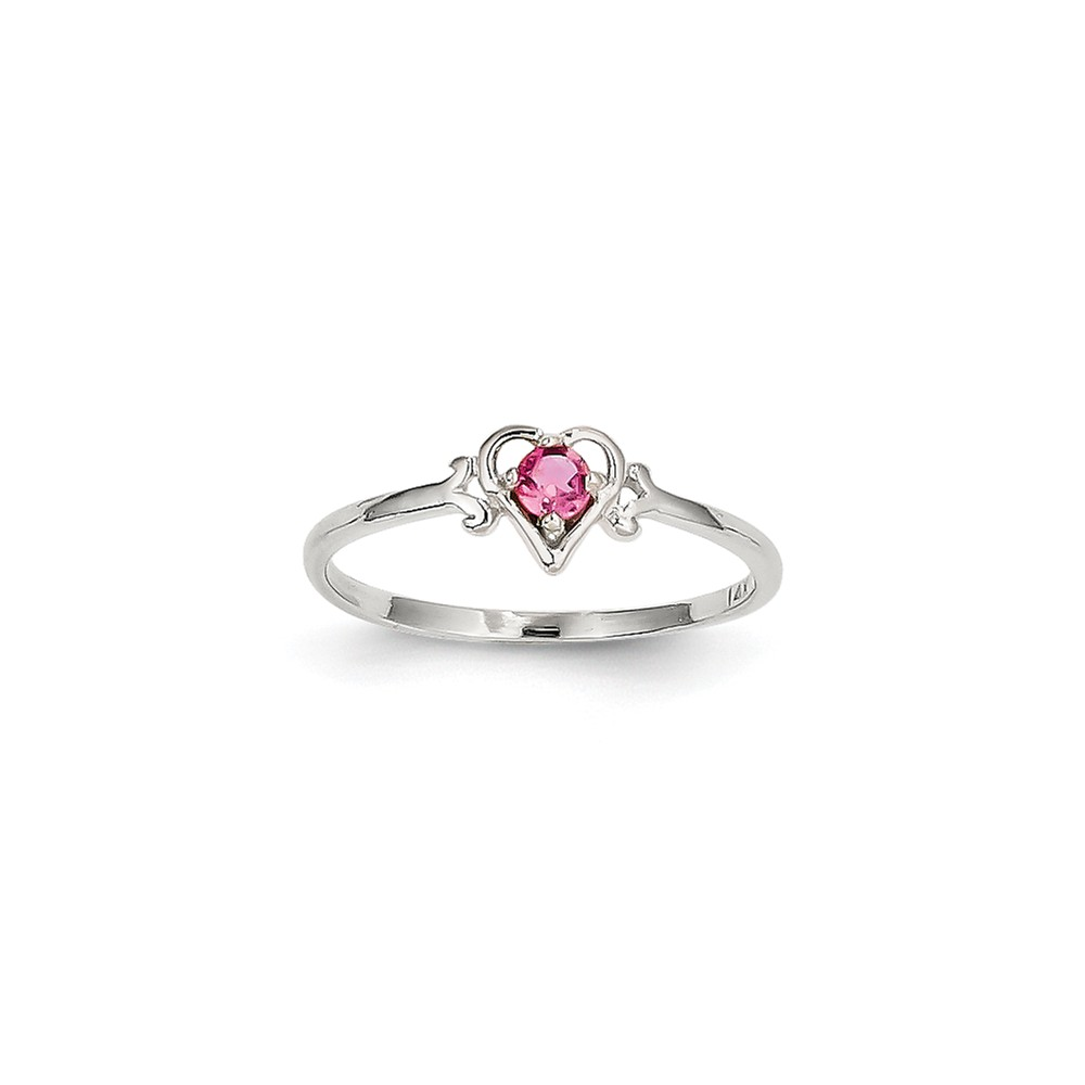 14K White Gold Pink Tourmaline Birth Month Heart Ring Size-7 by