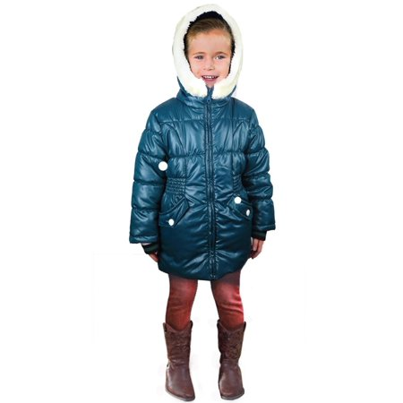 GIRLS FASHION WINTER COAT INSULATED FLEECE-LINED HOODED WEATHERPROOF PUFFER