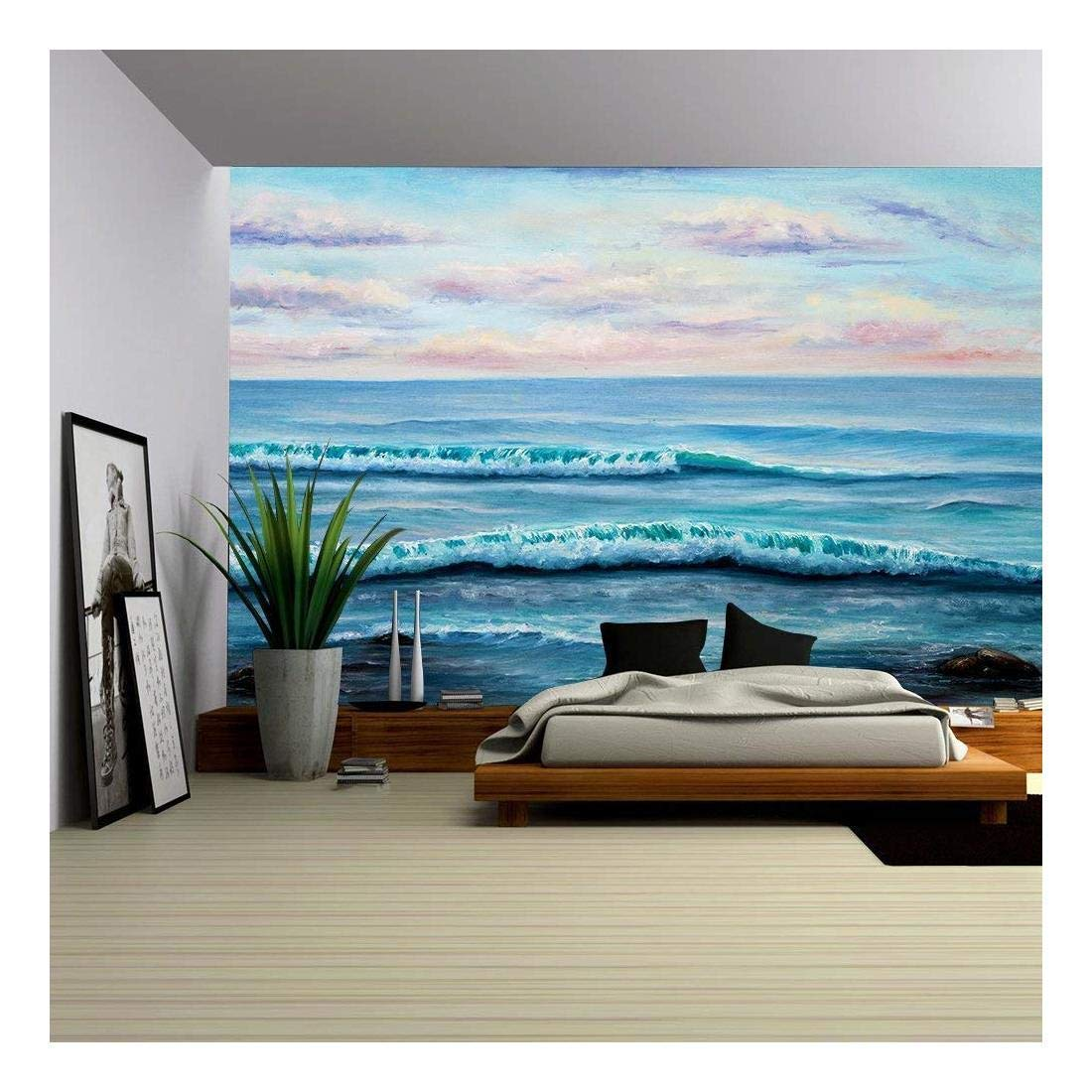 wall26 - Original Oil Painting Showing Ocean or Sea,Shore or Beach on Canvas - Removable Wall Mural | Self-adhesive Large Wallpaper - 100x144 inches