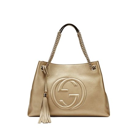 Gucci Soho Metallic Chain Medium Tote Golden Beige Leather New Bag