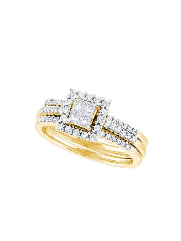 14k Yellow Gold Princess Natural Diamond Womens Halo Wedding Bridal Ring Set (.50 cttw.) size- 7.5 by