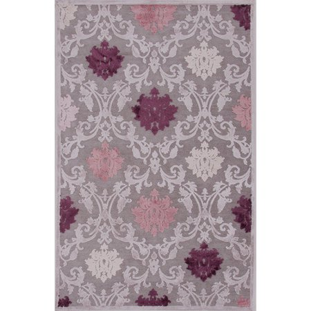 Contemporary Damask Pattern Gray Purple Rayon And Chenille