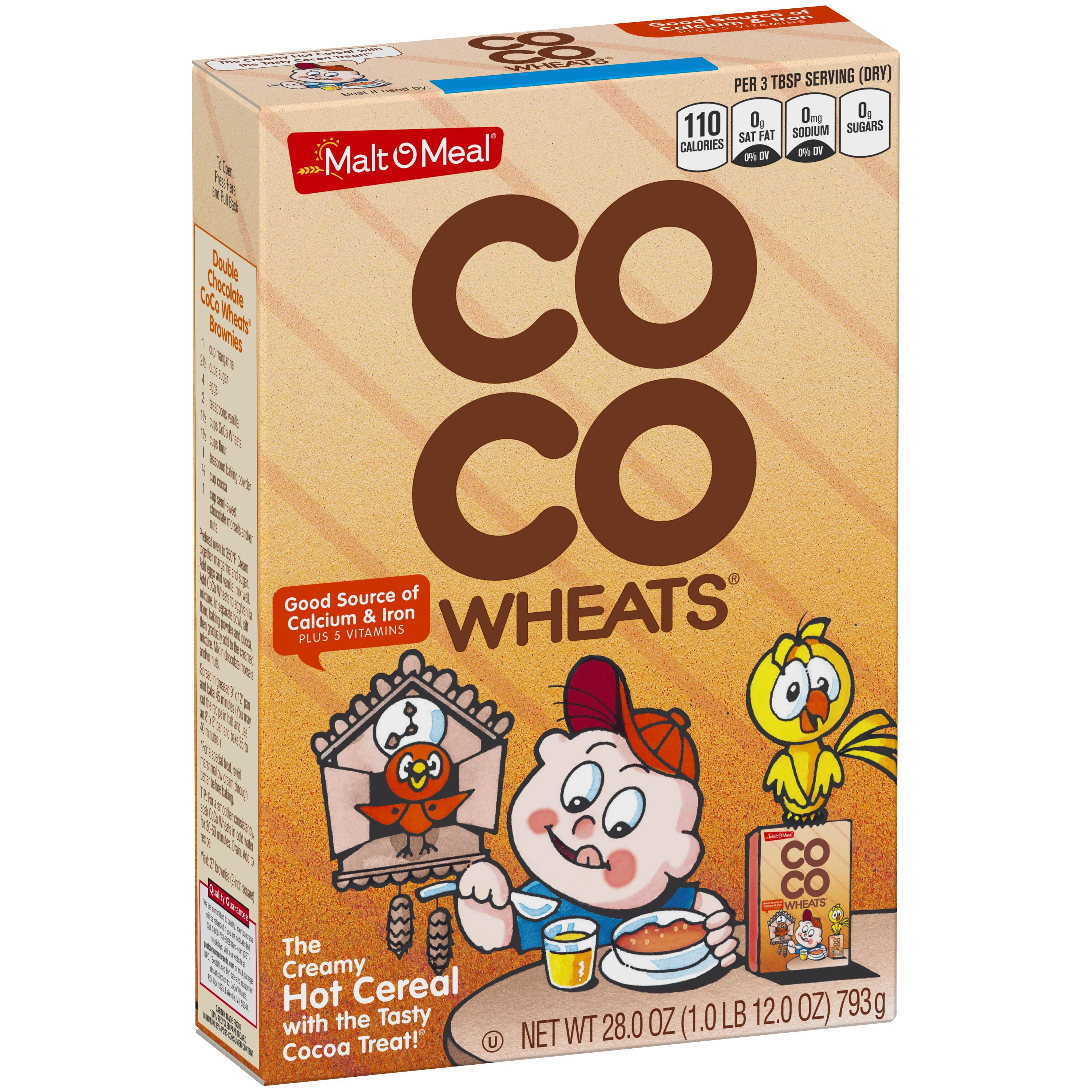 Malt-O-Meal Coco Wheats Hot Cereal, Chocolate Flavored, 28 Oz