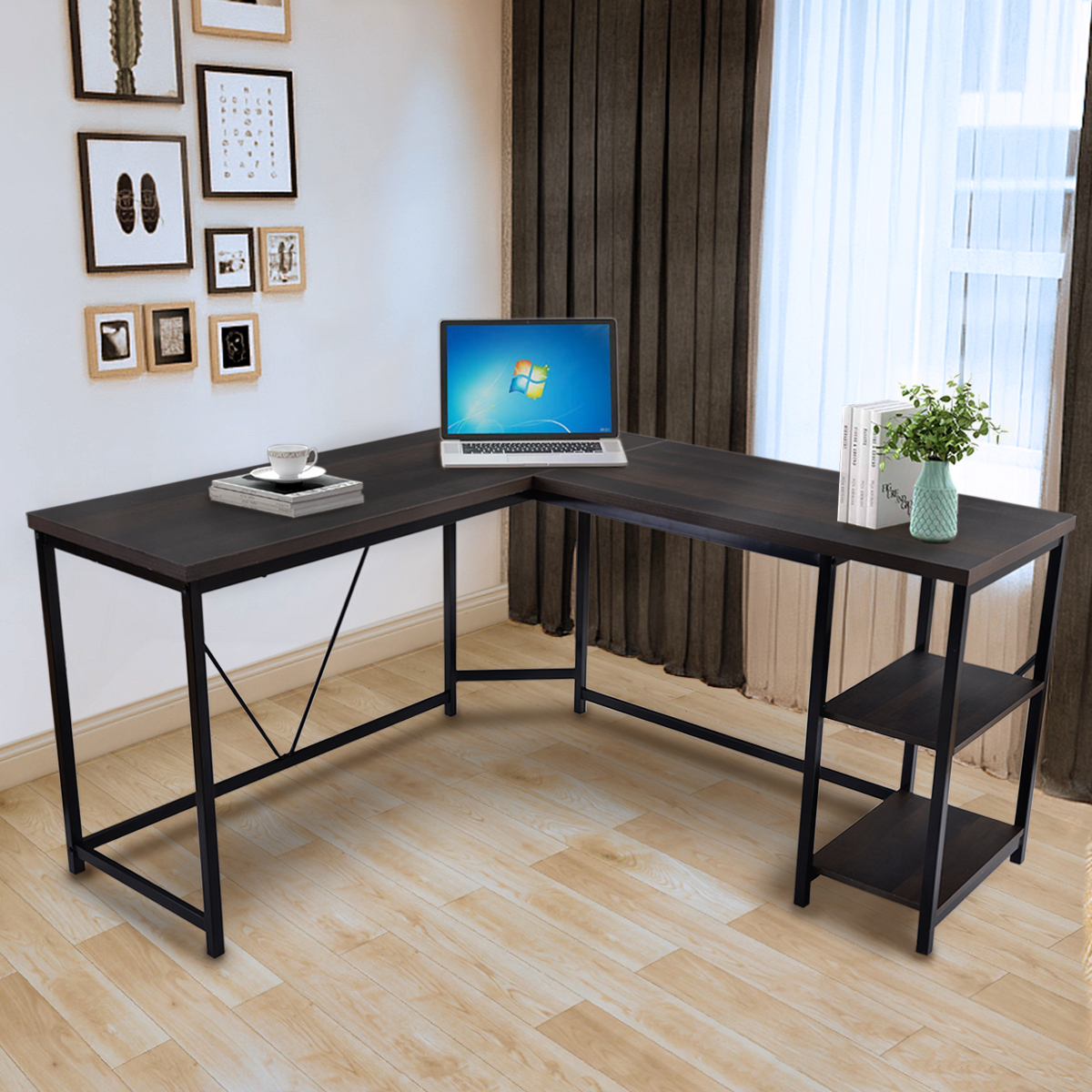 L Shaped Computer Desk Industrial Office Corner Desk With Shelves Writing Study Table Wood Tabletop Home Gaming Desk With Metal Frame Large 2 Person Table For Home Office Workstation K469 Walmart Com