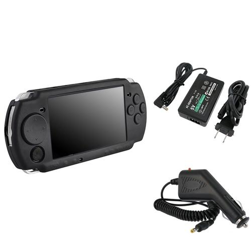 Insten BLACK SILICONE SKIN CASE+CAR+DC RAPID TRAVEL CHARGER PACK FOR SONY PSP 3000 2000