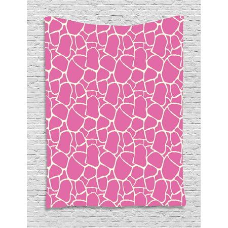 Hot Pink Tapestry, Abstract Giraffe Skin Pattern Vivid Color Exotic ...