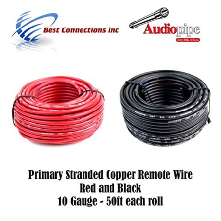 10 GAUGE WIRE RED & BLACK POWER GROUND 50 FT EACH PRIMARY STRANDED COPPER CLAD (14guage Copper Wire)