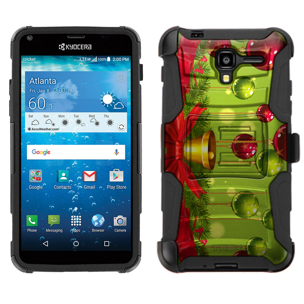 Kyocera Hydro REACH Armor Hybrid Case - Red and Green Ornaments Hanging from Reef