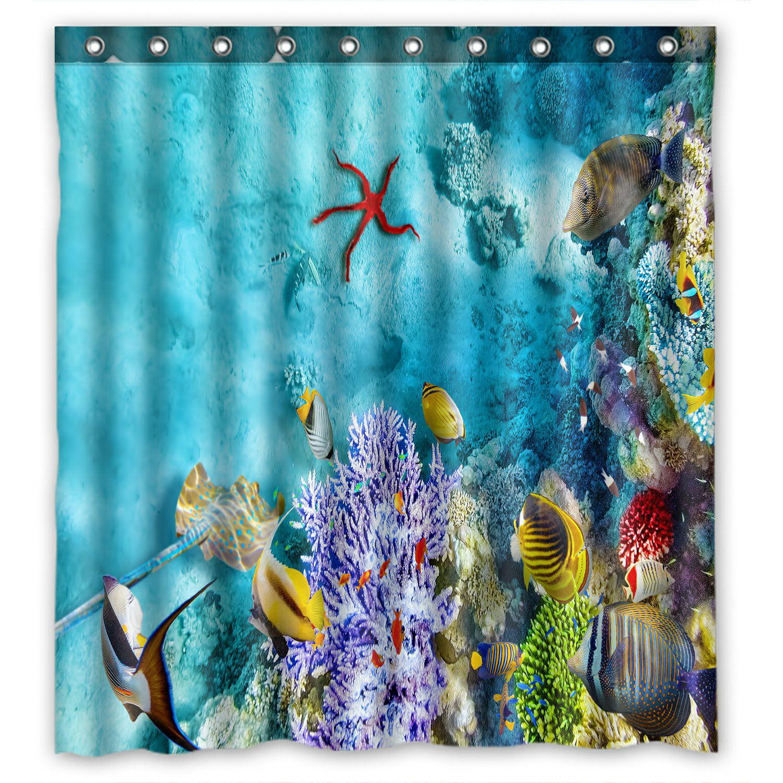 PHFZK Tropical Beach Shower Curtain, Wonderful Underwater